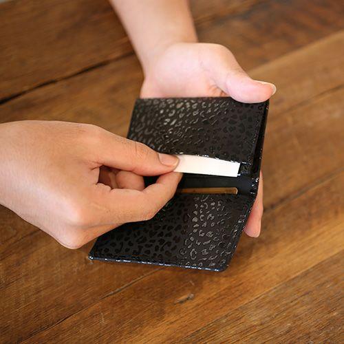 5月 誕生石 印傳屋(印伝屋) カードケース -LEOPARD- / 名刺入れ