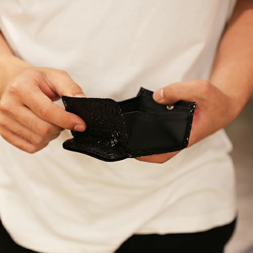 【JAM HOME MADE(ジャムホームメイド)】10月 誕生石 トルマリン 印傳屋(印伝屋) コインケース TYPE-2 -ANECHOIC- / 小銭入れ メンズ レディース 上原勇七 ブラック おすすめ 人気 誕生日 プレゼント 日本製 カード 薄い 使いやすい