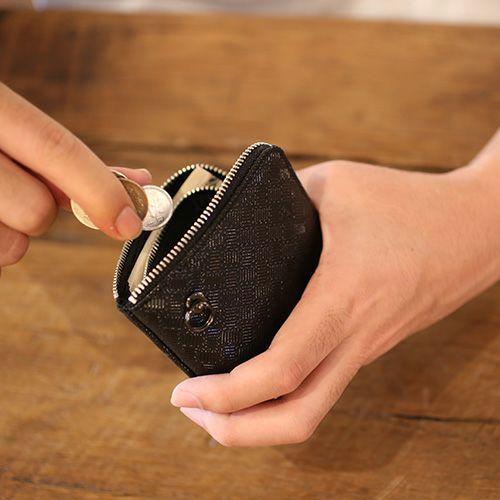 【ジャムホームメイド(JAMHOMEMADE)】印傳 - 印伝屋 4月 誕生石  二つ折り財布 小銭入れ L字ファスナー 無響柄