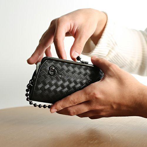【ジャムホームメイド(JAMHOMEMADE)】印傳 - 印伝屋 2月 誕生石   二つ折り財布 親子 がま口財布 無響柄