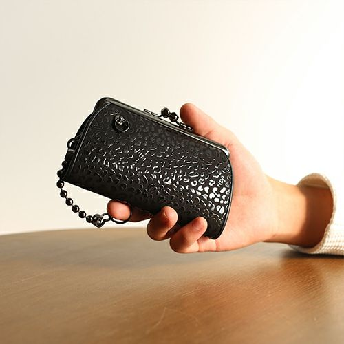 【ジャムホームメイド(JAMHOMEMADE)】印傳 - 印伝屋 5月 誕生石  二つ折り財布 親子 がま口財布 レオパード柄