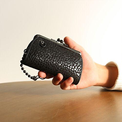 【ジャムホームメイド(JAMHOMEMADE)】印傳 - 印伝屋 3月 誕生石  二つ折り財布 親子 がま口財布 レオパード柄