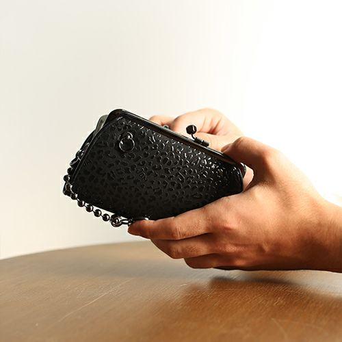 【ジャムホームメイド(JAMHOMEMADE)】印傳 - 印伝屋 1月 誕生石  二つ折り財布 親子 がま口財布 レオパード柄