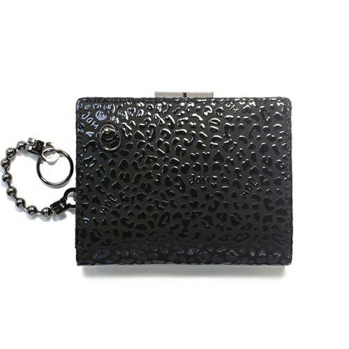 二つ折り財布 / BLACK DIAMOND 印傳屋(印伝屋) ミディアムウォレット・がま札財布 -LEOPARD- メンズ レディース 上原勇七 人気 誕生日 プレゼント カード ウォレットチェーン 日本製