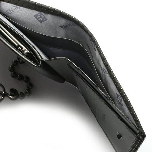 二つ折り財布 / 5月 誕生石 エメラルド 印傳屋(印伝屋) ミディアムウォレット・がま札財布 -LEOPARD- メンズ レディース 上原勇七 ブラック 人気 誕生日 プレゼント カード ウォレットチェーン 日本製