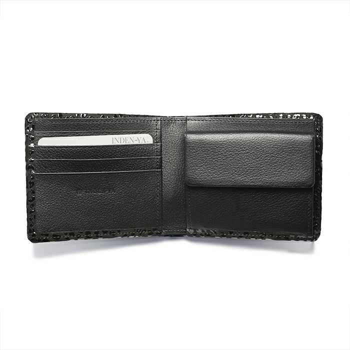 1月 誕生石 印傳屋(印伝屋) ミディアムウォレット -LEOPARD- / 二つ折り財布