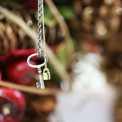 ネックレス / キー&ロックLOVEネックレス / ペアネックレス メンズ レディース ゴールド シルバー ペア ダイヤモンド 人気 ブランド おすすめ プレゼント クリスマス 誕生日 南京錠 ハート 記念日