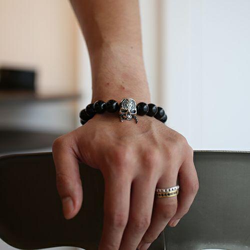 【JAM HOME MADE(ジャムホームメイド)】『パイレーツ・オブ・カリビアン/最後の海賊』 スカルブレスレット  オニキス -SILVER- メンズ レディース シルバー 925 ブランド 人気 数珠 コラボ ディズニー ボリューム