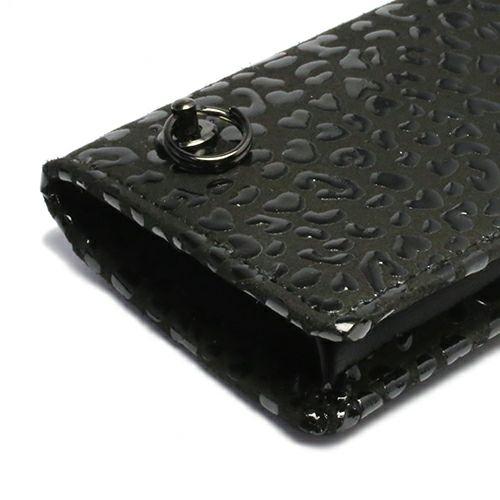 小銭入れ / 9月 誕生石 サファイア 印傳屋(印伝屋) コインケース TYPE-3 -LEOPARD- メンズ レディース 上原勇七 ブラック おすすめ 人気 誕生日 プレゼント 日本製 カード 薄い 使いやすい