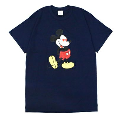 "【JAM HOME MADE(ジャムホームメイド)】ミッキー ""MICKEY"" Tシャツ ラブ ミッキー / -NAVY×LAME- メンズ レディース ユニセックス ネイビー ラメ ペア オーバーサイズ ハート DISNEY/ディズニー"
