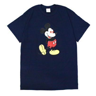"""衣料品トップス / ミッキー """"MICKEY"""" Tシャツ ラブ ミッキー / -NAVY×LAME- メンズ レディース ユニセックス ネイビー ラメ ペア オーバーサイズ ハート DISNEY/ディズニー"""