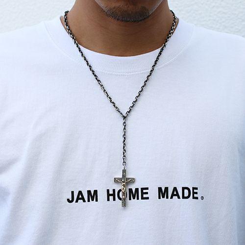 【JAM HOME MADE(ジャムホームメイド)】K10ダイヤロザリオネックレス M メンズ シルバー ゴールド 925 チェーン クロス モチーフ 十字架 王道 人気 ブランド おすすめ プレゼント ハンドメイド キリスト