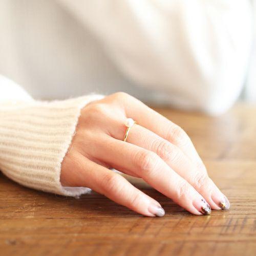【JAM HOME MADE(ジャムホームメイド)】リアルパールリング レディース ゴールド 華奢 人気 おすすめ ブランド 真珠 シンプル 安い