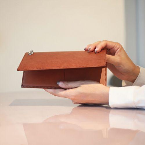 長財布 / スキニーロングウォレット -BROWN- メンズ ブランド 人気 使い始め 革 ブラウン ヌメ革 シンプル カード 薄型 スーツ プレゼント ギフト 誕生日 ウォレットチェーン