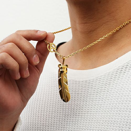 【JAM HOME MADE(ジャムホームメイド)】BE@RBRICK/ベアブリック NAKEDフェザーネックレス L -GOLD- メンズ レディース シルバー ゴールド 925 チェーン人気 おすすめ ブランド 羽 コラボ