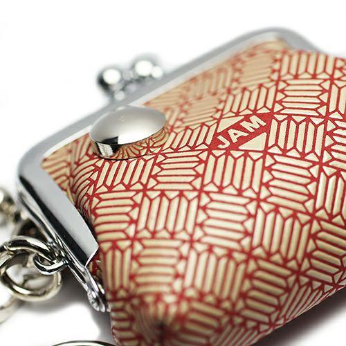 印傳屋(印伝屋) がま口アクセサリーケース RED×WHITE -ANECHOIC-