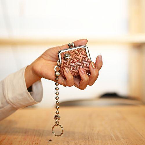 印傳屋(印伝屋) がま口アクセサリーケース RED×WHITE -ANECHOIC- / 財布・革財布