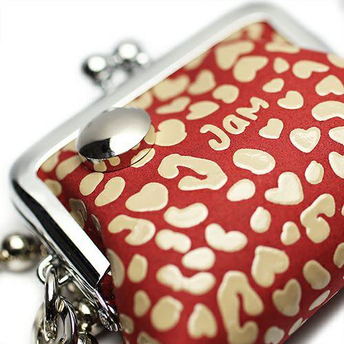 印傳屋(印伝屋) がま口アクセサリーケース RED×WHITE -LEOPARD-