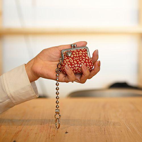 印傳屋(印伝屋) がま口アクセサリーケース RED×WHITE -LEOPARD- / 財布・革財布