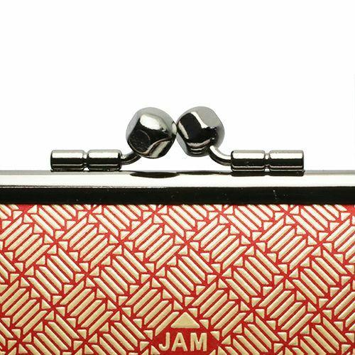 【JAM HOME MADE(ジャムホームメイド)】印傳屋(印伝屋) 親子がま口財布 RED×WHITE -ANECHOIC- メンズ レディース 革 上原勇七 ブラック ブランド おすすめ 人気 誕生日 プレゼント カード 薄い 日本製 ガマ口 二つ折り 小銭入れ