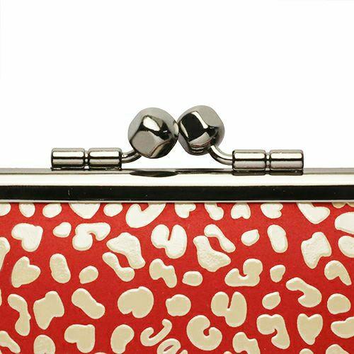長財布 / 印傳屋(印伝屋) 親子がま口財布 RED×WHITE -LEOPARD- メンズ レディース 革 上原勇七 ブラック ブランド おすすめ 人気 誕生日 プレゼント カード 薄い 日本製 ガマ口 二つ折り 小銭入れ