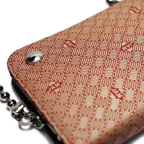 印傳屋(印伝屋) がま口ロングウォレット RED×WHITE -ANECHOIC- / 長財布