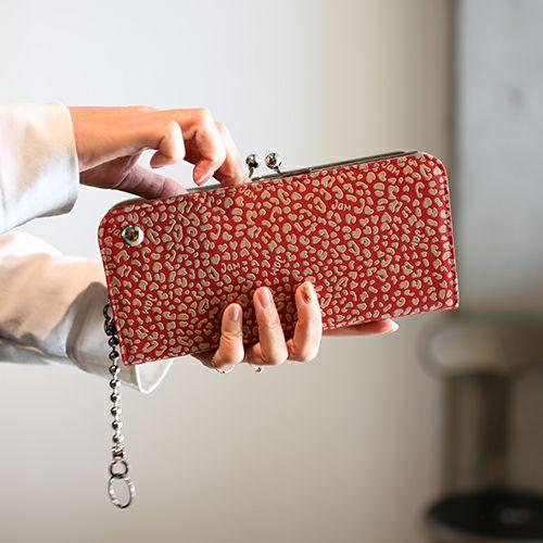 印傳屋(印伝屋) がま口ロングウォレット RED×WHITE -LEOPARD- / 長財布