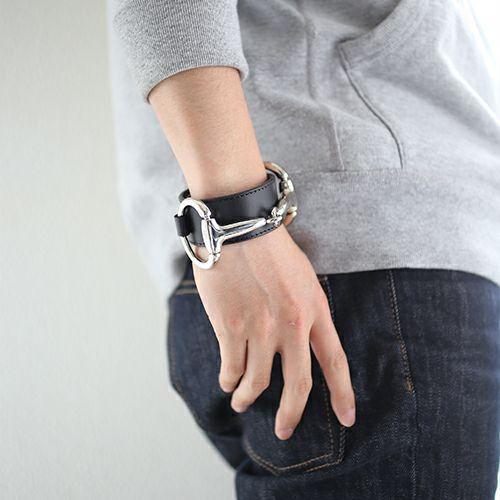 ブレスレット / ビットレザーブレスレット L -BLACK- メンズ 牛革 ホースビット 人気 ブランド シンプル おすすめ ギフト プレゼント