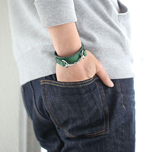 ブレスレット / ビットレザーブレスレット M -GREEN- メンズ 牛革 ホースビット 人気 ブランド シンプル おすすめ ギフト プレゼント