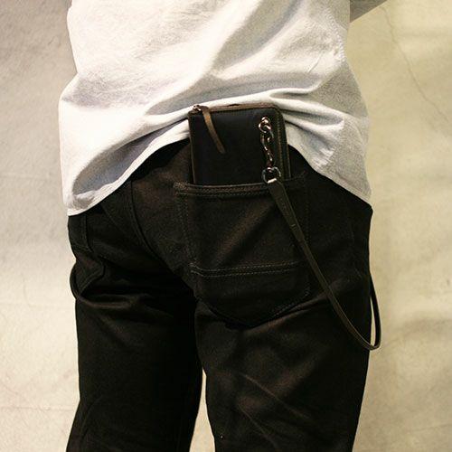 【JAM HOME MADE(ジャムホームメイド)】BLACK DIAMOND ファスナーロングウォレット -LaVish- SILVER ver. / 長財布 メンズ ユニセックス レザー ブラック ヌメ革 ダイヤモンド ファスナー 小銭 カード ウォレットチェーン プレゼント ギフト