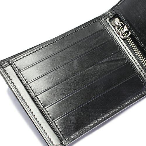 二つ折り財布 / 5月 誕生石 エメラルド ブライドルレザーミディアムウォレット メンズ ユニセックス ブランド 人気 使い始め レザー/革 イギリス ブライドル ブラック お手入れ シンプル プレゼント ギフト 誕生日 ウォレットチェーン