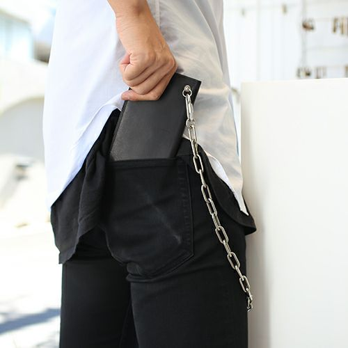 長財布 / スリムロングウォレット メンズ レザー ブラック 人気 ブランド 薄い 誕生日 プレゼント ギフト 父の日 スーツ 内ポケット
