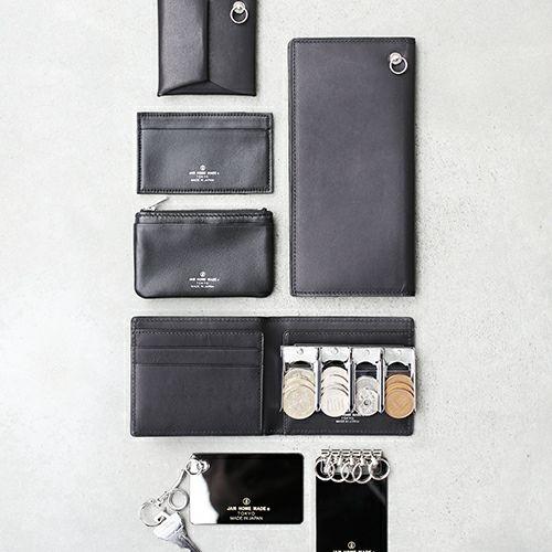 【JAM HOME MADE(ジャムホームメイド)】スリムミディアムウォレット / 二つ折り財布 メンズ レザー ブラック 人気 ブランド ギフト 薄い 誕生日 プレゼント 父の日 スーツ 内ポケット