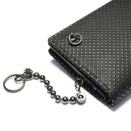 4月 誕生石 印傳屋(印伝屋) ミディアムウォレット・がま札財布 -PUNCHING- / 二つ折り財布 / 財布・革財布