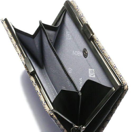 二つ折り財布 / 11月 誕生石 トパーズ オンラインショップ限定 印傳屋(印伝屋) ミディアムウォレット・がま札財布 -ANECHOIC- メンズ レディース 鹿革 上原勇七 ネイビー ブランド 人気 誕生日 プレゼント がま口 日本製