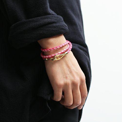 編み込み3巻ブレスレット -PINK-
