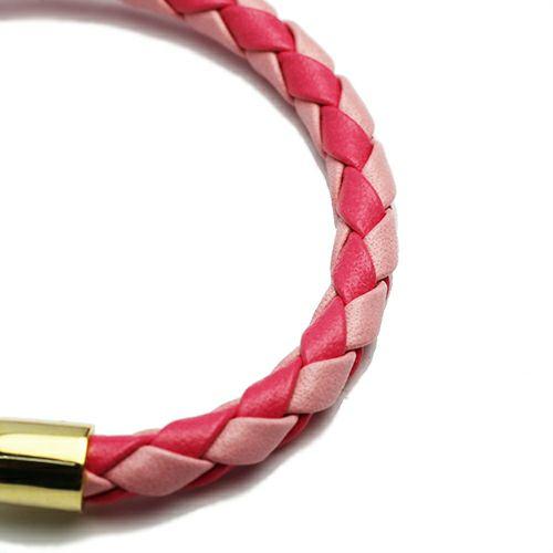 編み込みシングルブレスレット -PINK-