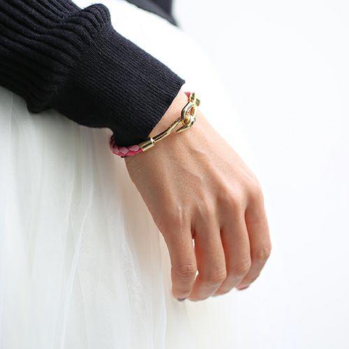 ブレスレット / 編み込みシングルブレスレット -PINK- S メンズ レディース ペア レザー ゴールド シンプル プレゼント 人気 おすすめ ギフト 定番 安心