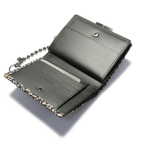 オンラインショップ限定 11月 誕生石 印傳屋(印伝屋) ミディアムウォレット・がま札財布 -LEOPARD- / 二つ折り財布