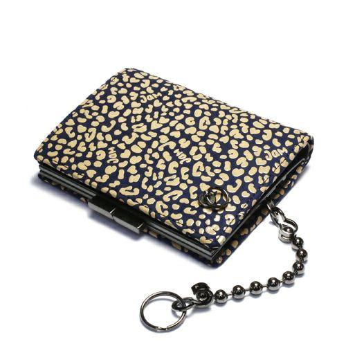 オンラインショップ限定 3月 誕生石 印傳屋(印伝屋) ミディアムウォレット・がま札財布 -LEOPARD- / 二つ折り財布