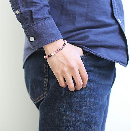 ブレスレット / 全技連 開運数珠ブレス チャクラ -『恋愛運』- M メンズ シルバー 925 オパール ガーネット ロードナイト エネルギー アンクレット 幸運 パワーストーン