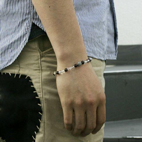 【JAM HOME MADE(ジャムホームメイド)】全技連 開運数珠ブレス チャクラ -『仕事運』- M メンズ シルバー 925 クオーツ ガーネット ルテクオーツ エネルギー アンクレット 幸運 努力 成功