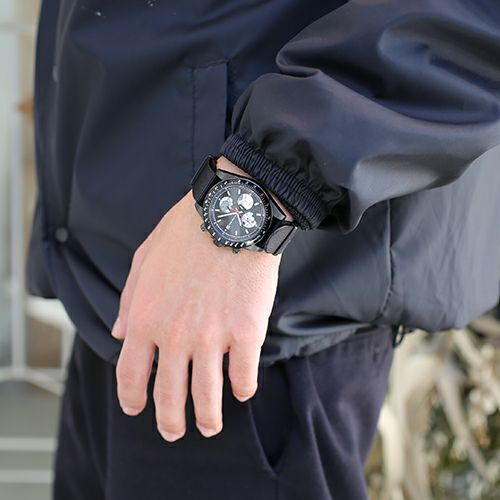 【ジャムホームメイド(JAMHOMEMADE)】シークレット ミッキー ウォッチ タイプ1 NATO - ブラック/モノクロ / 腕時計