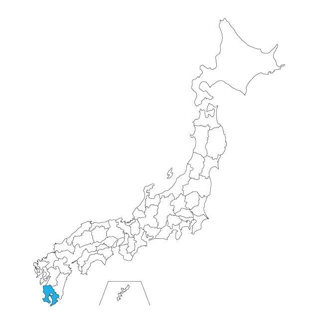 日本地図 鹿児島県ネックレス