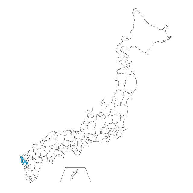 日本地図 長崎県ネックレス