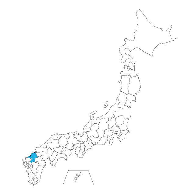 日本地図 福岡県ネックレス