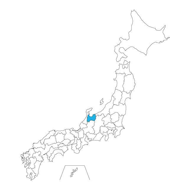 日本地図 富山県ネックレス