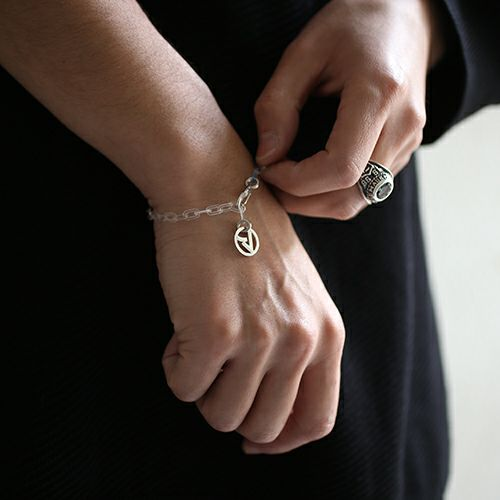 """ネックレス / """"ア"""" からホイールネックレス&ブレスレット M メンズ レディース ブランド シルバー プレゼント シンプル チェーン ネックレス セット"""