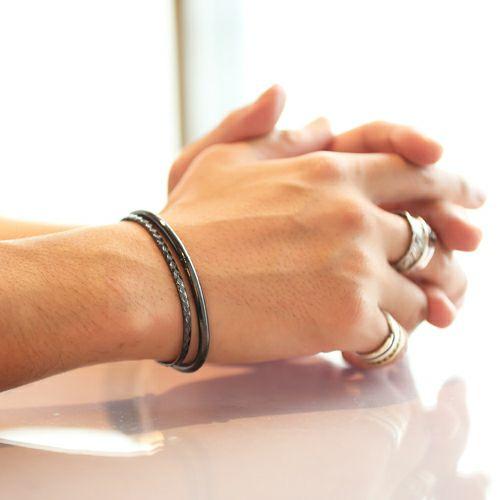 【JAM HOME MADE(ジャムホームメイド)】リアルダイヤモンド ペア バングル -BLACK- / ブレスレット メンズ レディース 人気 ブランド シンプル ダイヤモンド ギフト