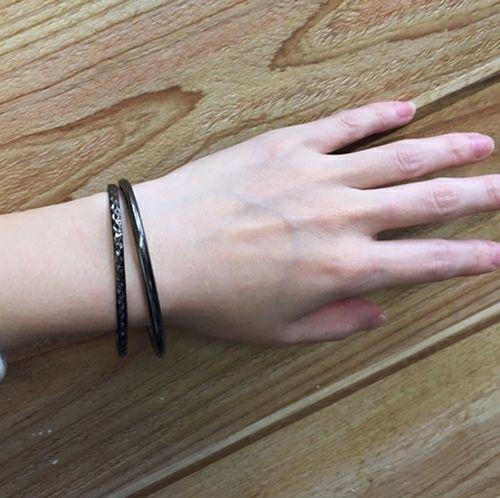 リアルダイヤモンド ペア バングル M -BLACK- / ブレスレット